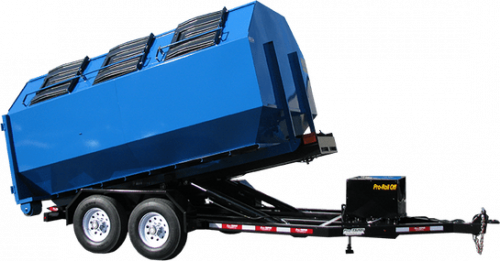 Roll Off Trailer with Blue Recycle Container