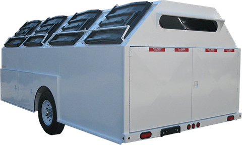 White Pro-Gravity Recycling Trailer