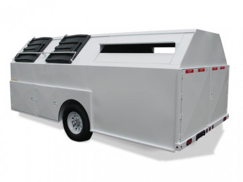 White Pro-Gravity Recycling Trailer with Cardboard Slots