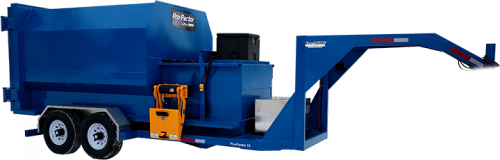 Blue Compactor Trailer with Cart Tipper