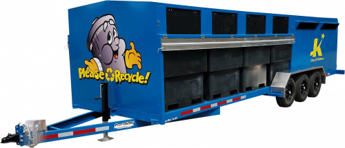 Blue Pro-Bin Recycling Trailer with Decals