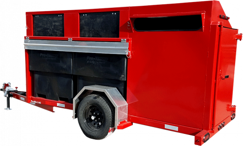 Red Pro-Bin 3yd Recycling Trailer