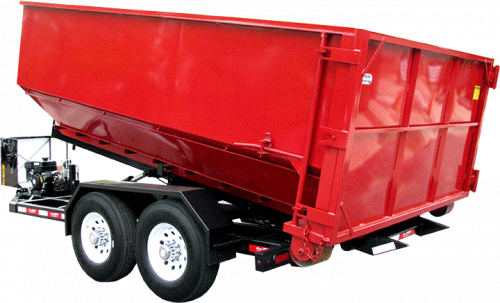 Red Roll off Dumpster on Trailer